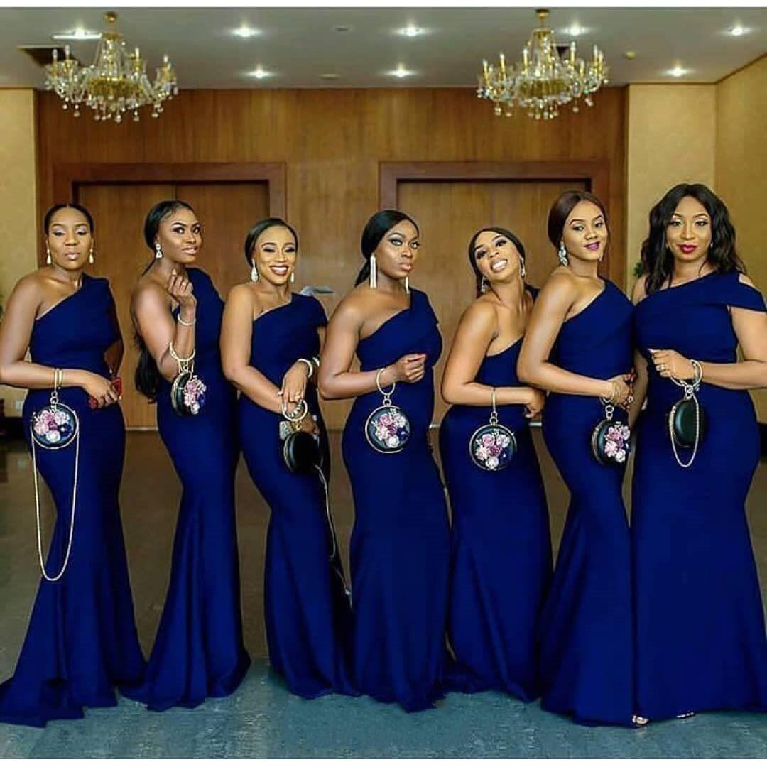 Mermaid One Shoulder Bridesmaid Dresses 2019 Royal Blue Stain African Royal Blue Bridesmaid Dresses Mermaid Bridesmaid Dresses One Shoulder Bridesmaid Dresses