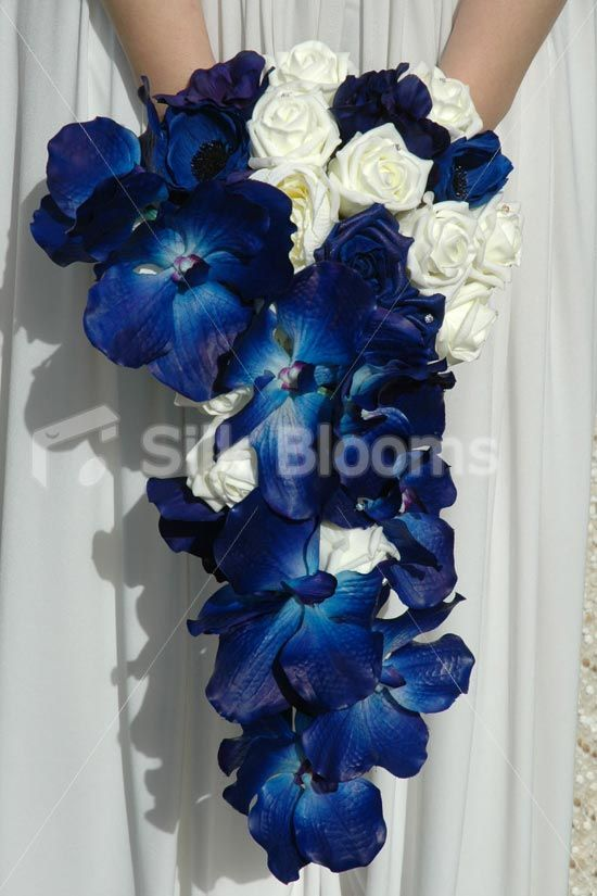 Cascading Bridal Bouquet W Ivory Roses This Could Be Pretty In Black And White Blue Orchid Wedding Blue Wedding Flowers Blue Orchid Wedding Bouquet