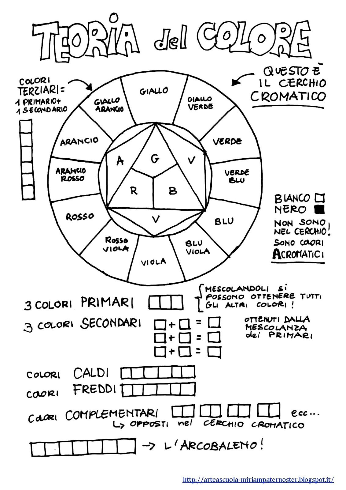 Color wheel worksheets for elementary - Arteascuola Color Wheel Printable Worksheet In Italian Language