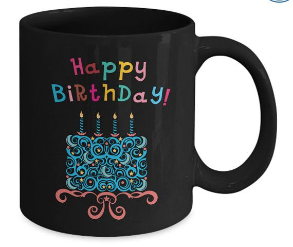 Happy Birthday Mug Coffee Colorful Gift Cake And Candles