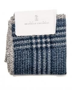 Image of Brunello Cucinelli Blue Plaid Pocket Square