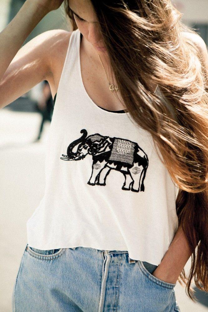 Brandy ♥ Melville | Cindy Elephant Embroidery Tank - Graphics
