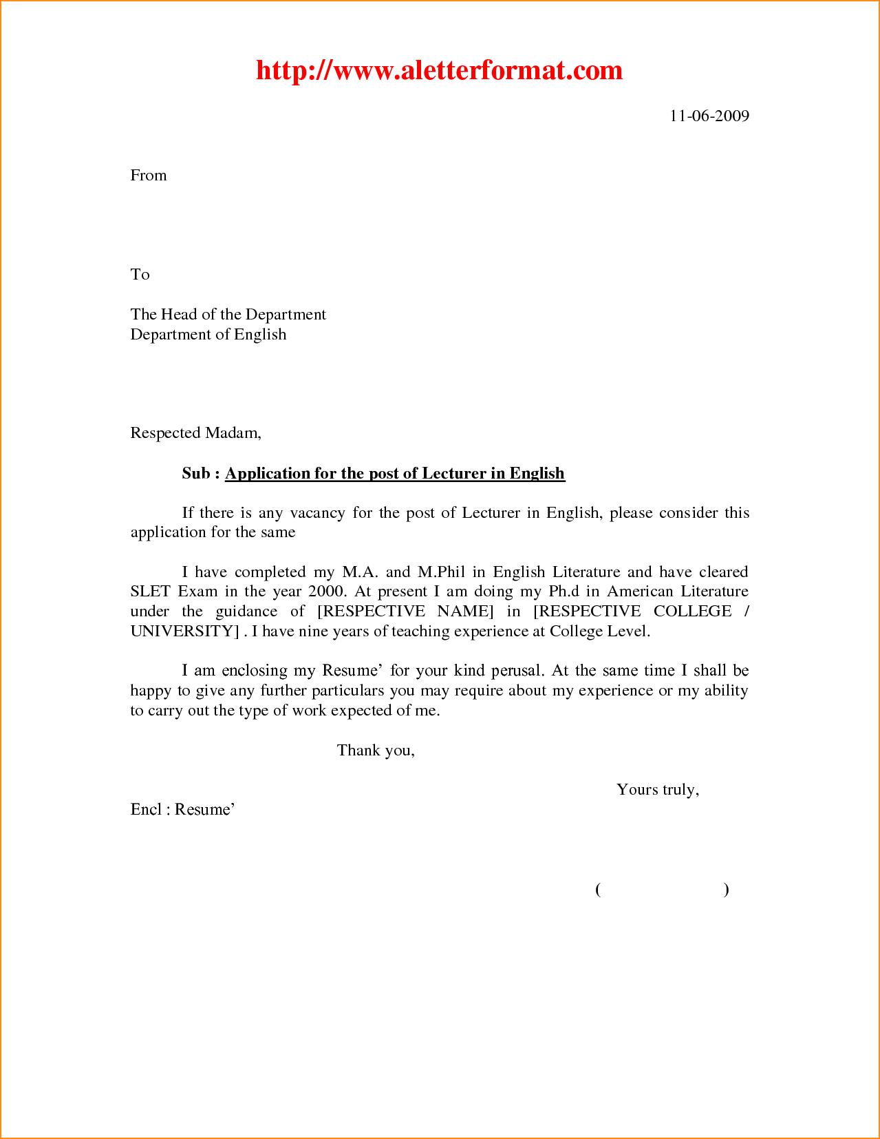 Job Application Cover Letter Format Basic Appication Jan