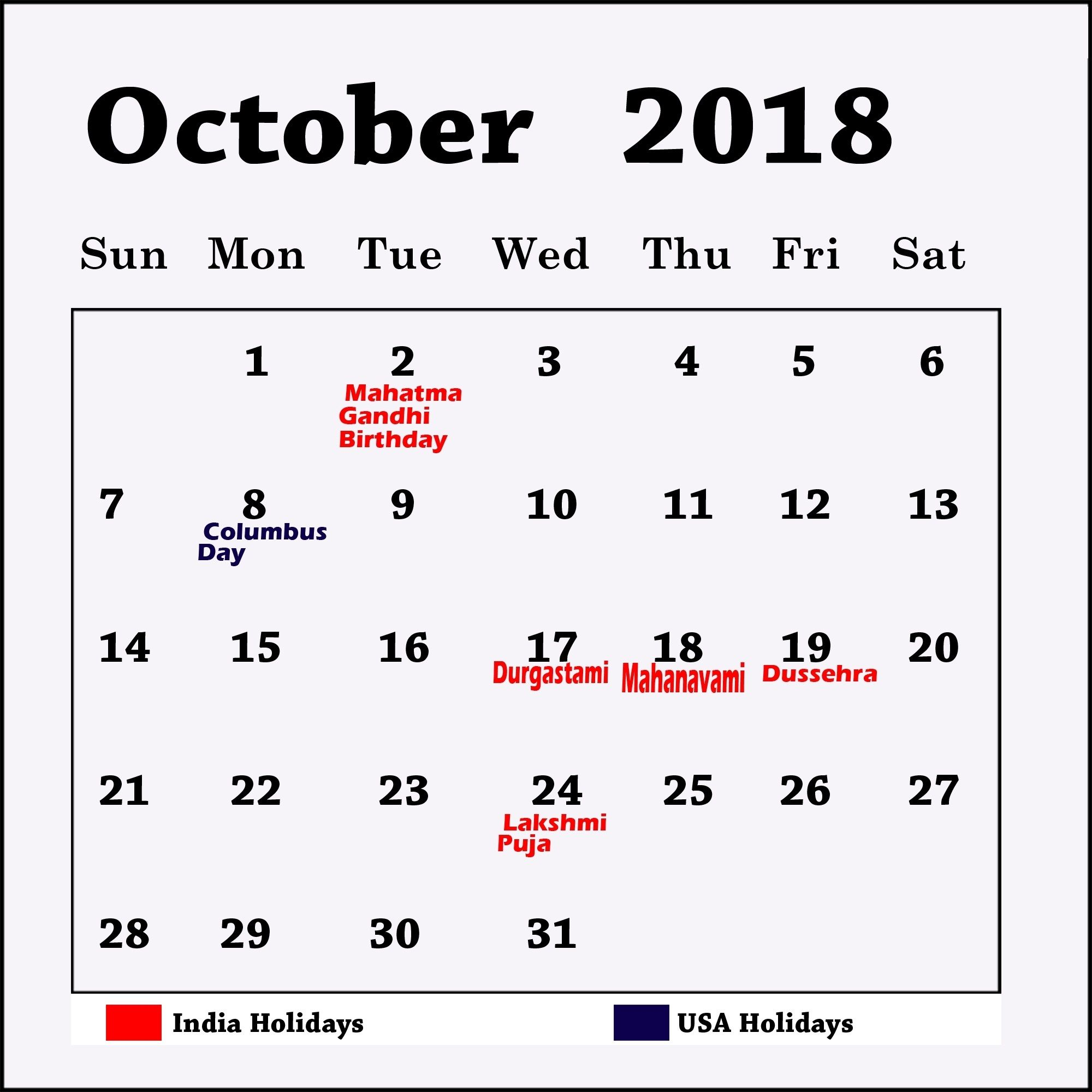 October 2018 Calendar India Shoot Design October Calendar 2018