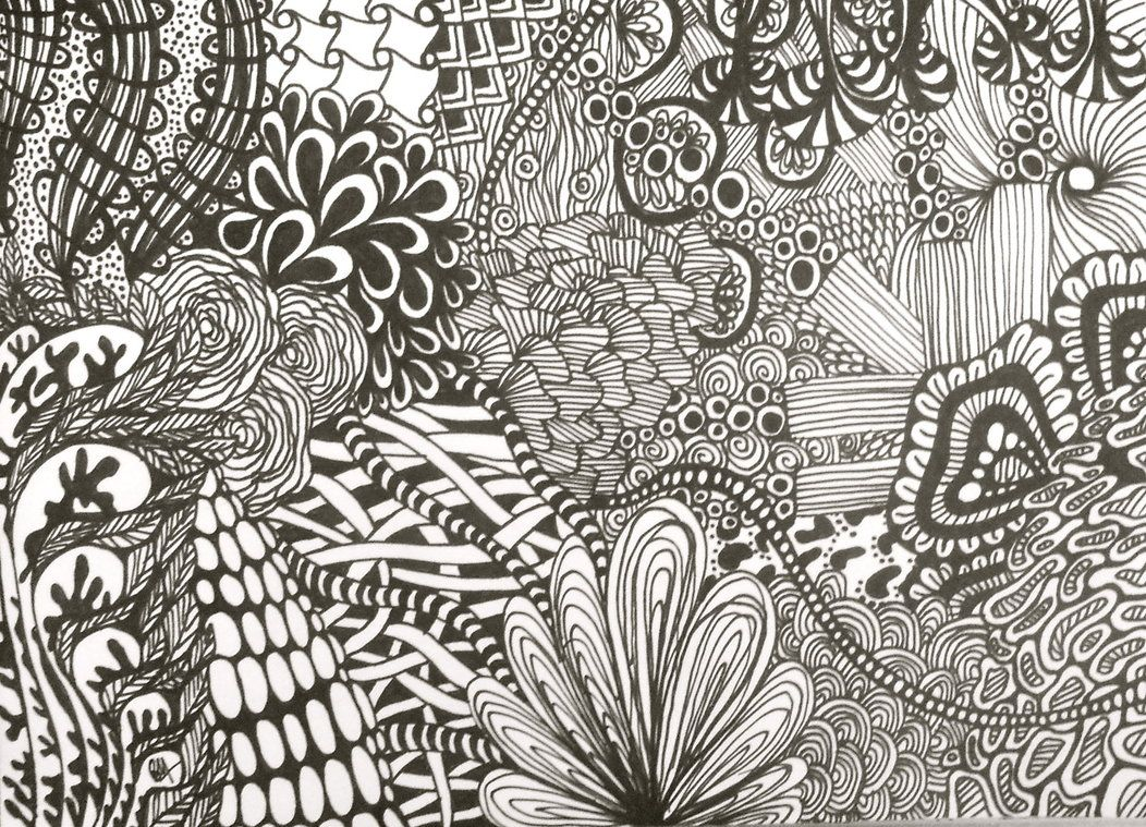 Easy Zentangle Patterns | BLack Zentangle Drawing by ...