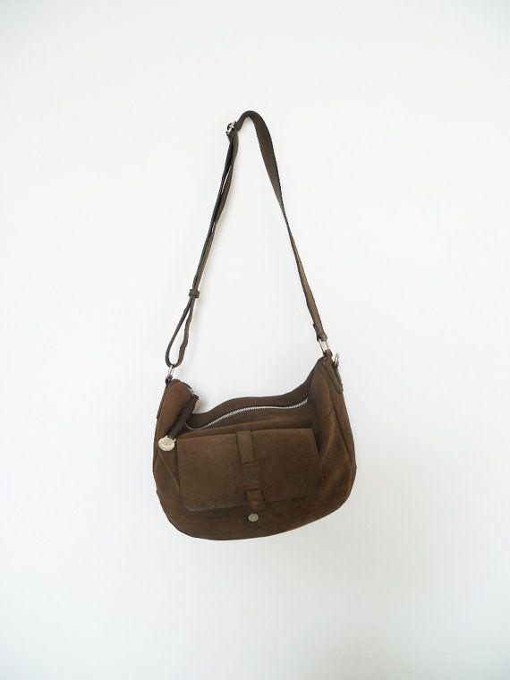 b6463b5013 ZIPPO Vintage brown Bag genuine suede leather crossbody suede ...