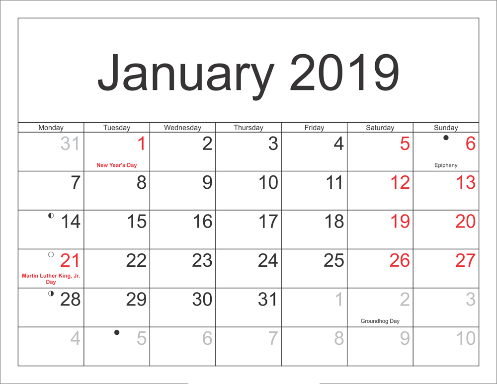 January 2019 Calendar With Indian Holiday Printable Templates