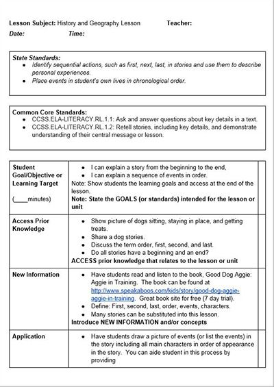 common core history lessons a lesson plan template for use with
