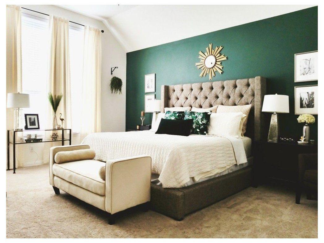 Emerald Green Accent Wall Decorative Pillows Emeraldgreenaccentwalldecorativepillows In 2021 Green Bedroom Walls Green Master Bedroom Hunter Green Bedrooms