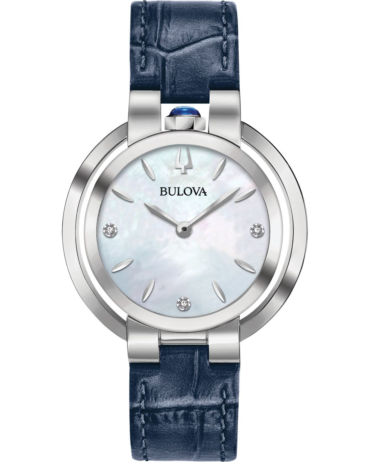59ccb04ce BULOVA Rubaiyat Diamond Dial Ladies Blue Leather Strap 96P196 ...