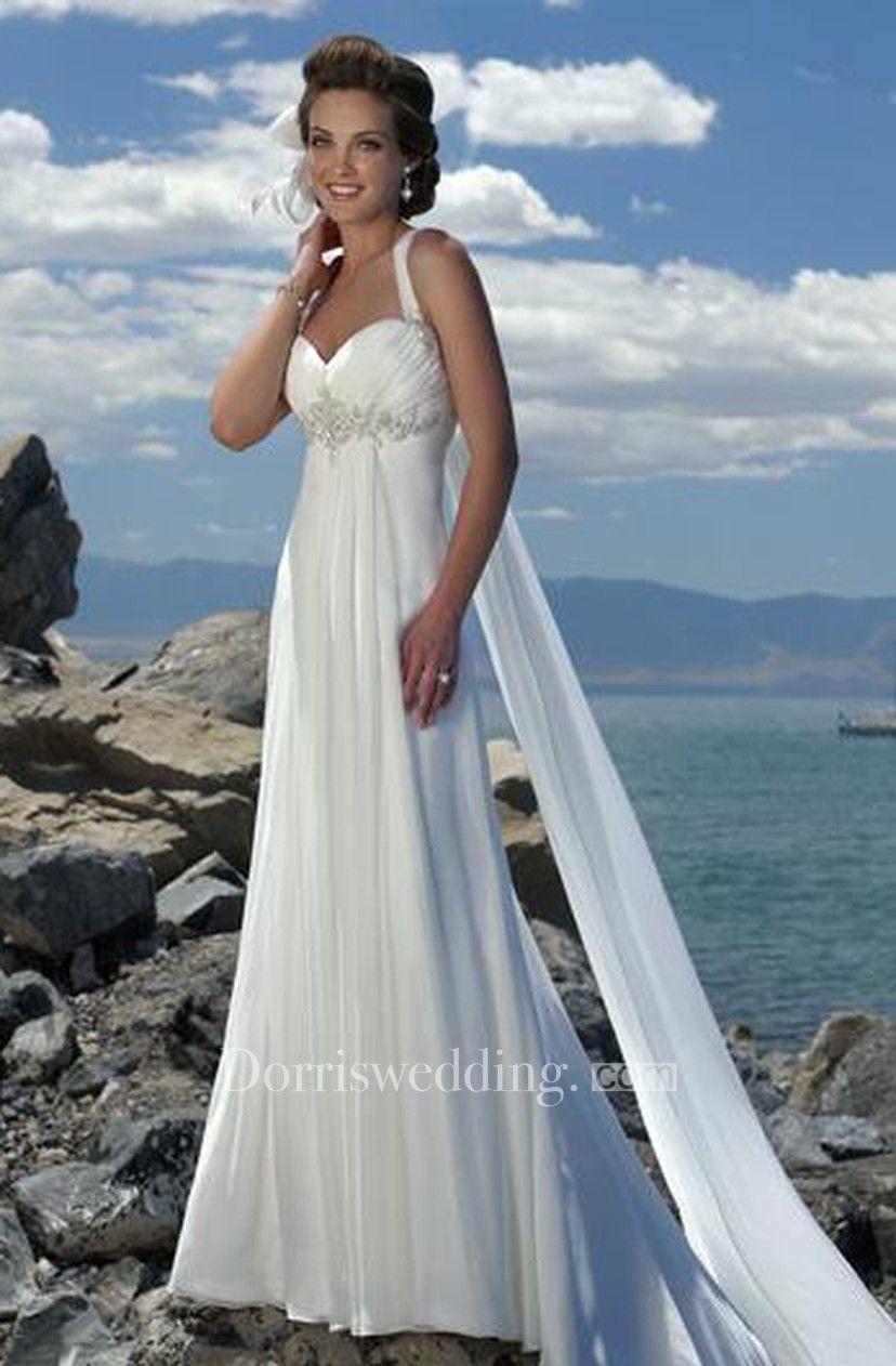 Chiffon wedding dress empire waist  Empire Waist Spaghetti Straps Brush Train Chiffon Beach Wedding