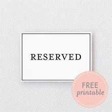 picture about Free Printable Reserved Seating Signs called Totally free marriage ceremony printables! Clic Reserved Seating Indication