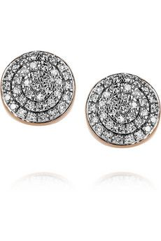 Monica Vinader  18-karat rose gold-vermeil diamond earrings
