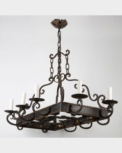 A Beautifully Designed Rectangular Wrought Iron Chandelier From