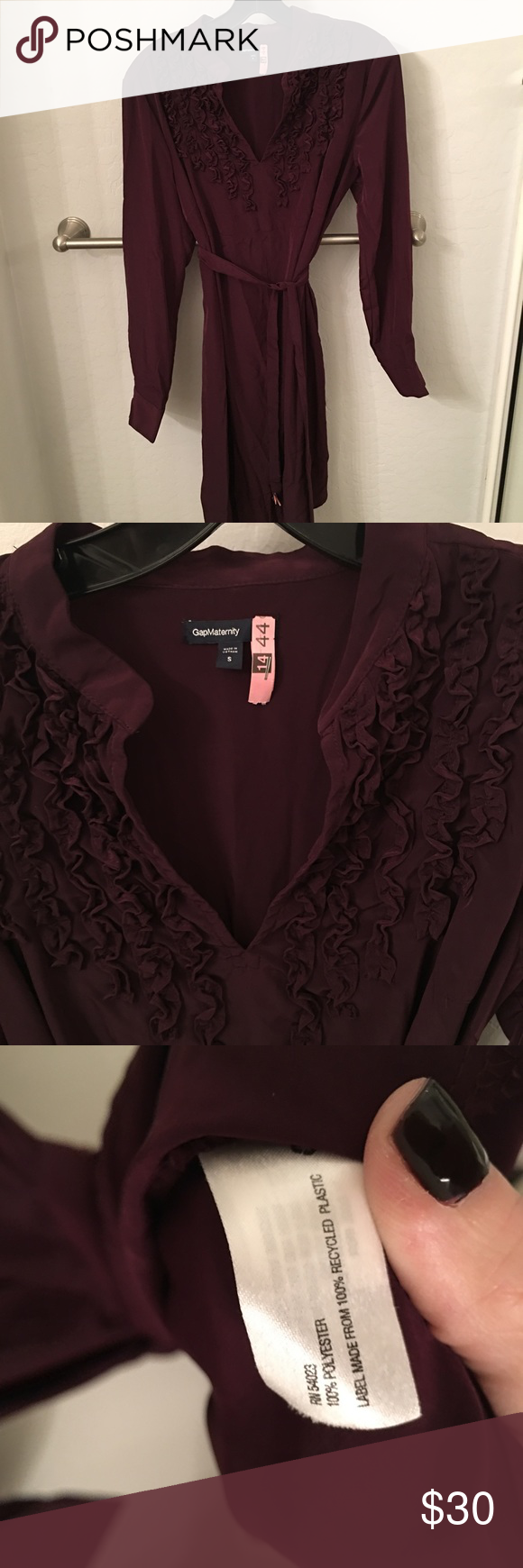GAP Maternity Shirt Dress Maroon GAP Maternity long-sleeve shirt dress with tie waist. Perfect for work and great with rights. Ruffle accent around neckline. Worn only a few times. Excellent condition. GAP Other