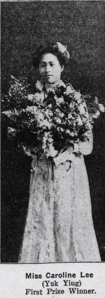 """Caroline Lee won first place in a """"Chinese oratorical contest"""" before Chinese officials and dignitaries of San Francisco with her story entitled """"Legend of the Chinese Lily"""" (Western Christian Advocate, July 6, 1904. p. 16)."""