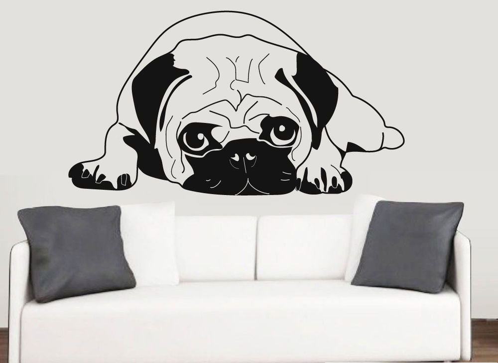 Details About Pug Silhouette Wall Vinyl Stickers Dog