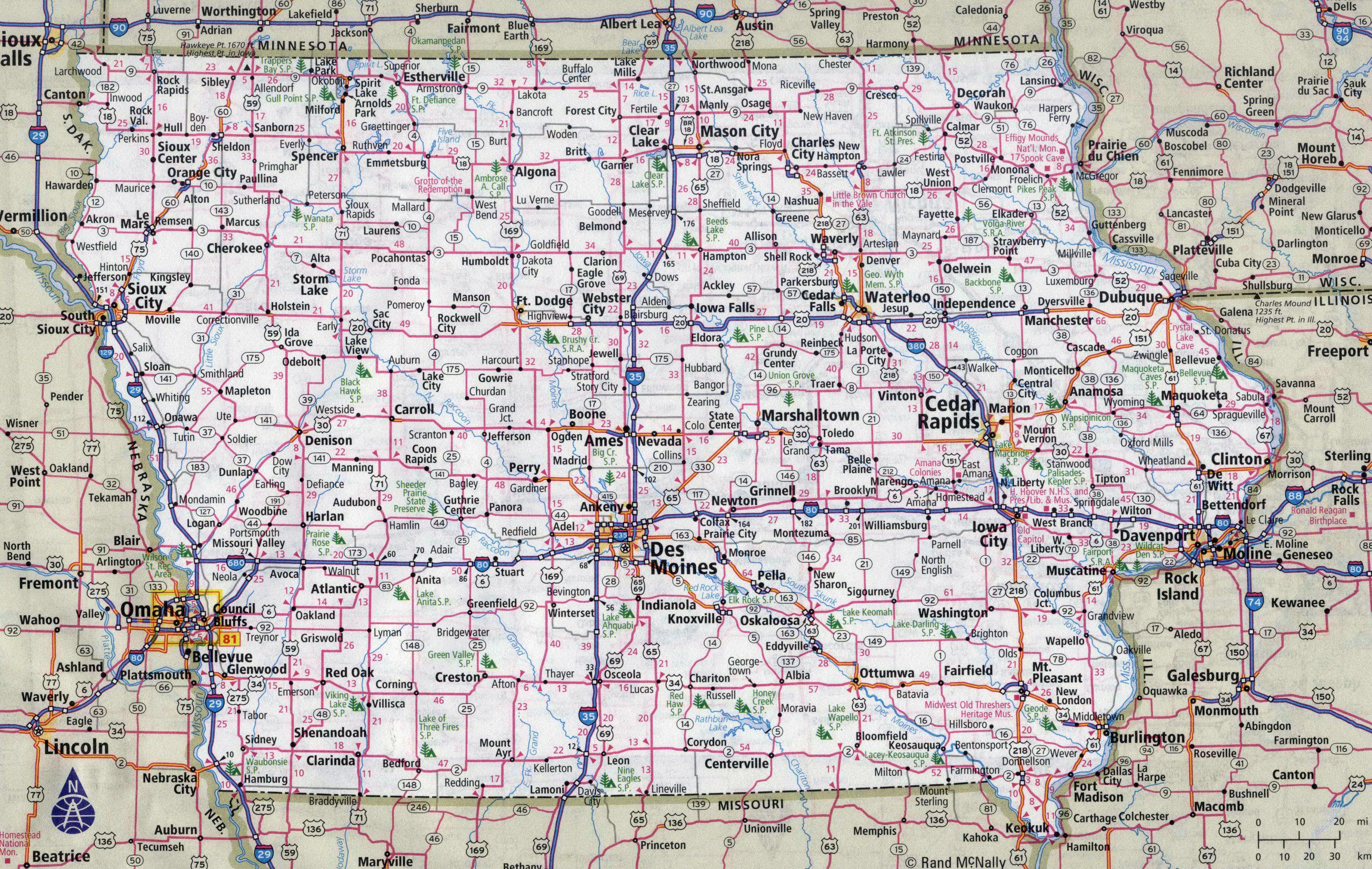 Largedetailedroadsandhighwaysmapofiowastatewithcities - Iowa map of us