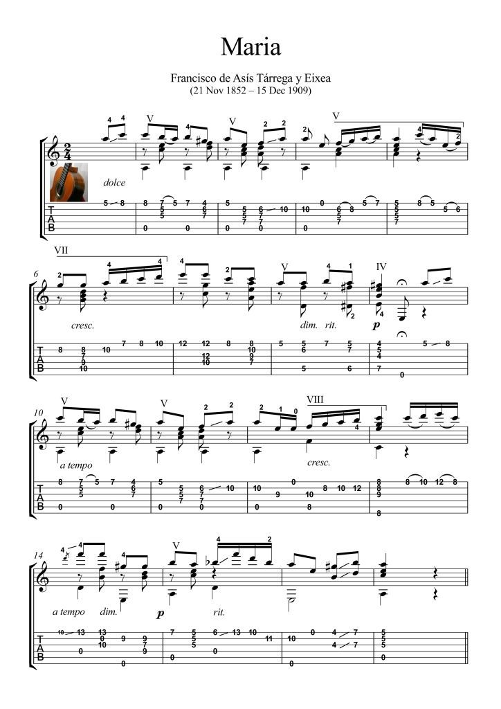 Maria by Tarrega guitar solo score. Maria, is a standard classical ...