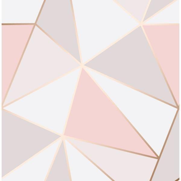 Fine Decor 56 4 Sq Ft Arken Rose Gold Geometric Wallpaper 2900 41685 The Home Depo Gold Geometric Wallpaper Geometric Wallpaper Rose Gold Rose Gold Bedroom