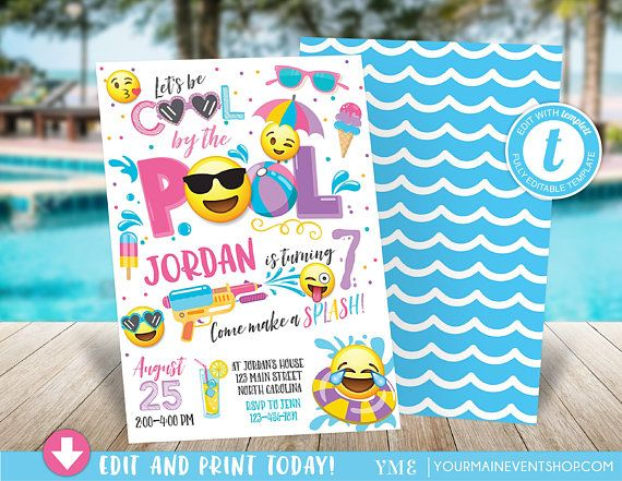 Emoji pool party invitation pool party birthday invitation girl emoji pool party invitation pool party birthday invitation girl emoji pool party party invitation cool by the pool summer swim party stopboris Image collections