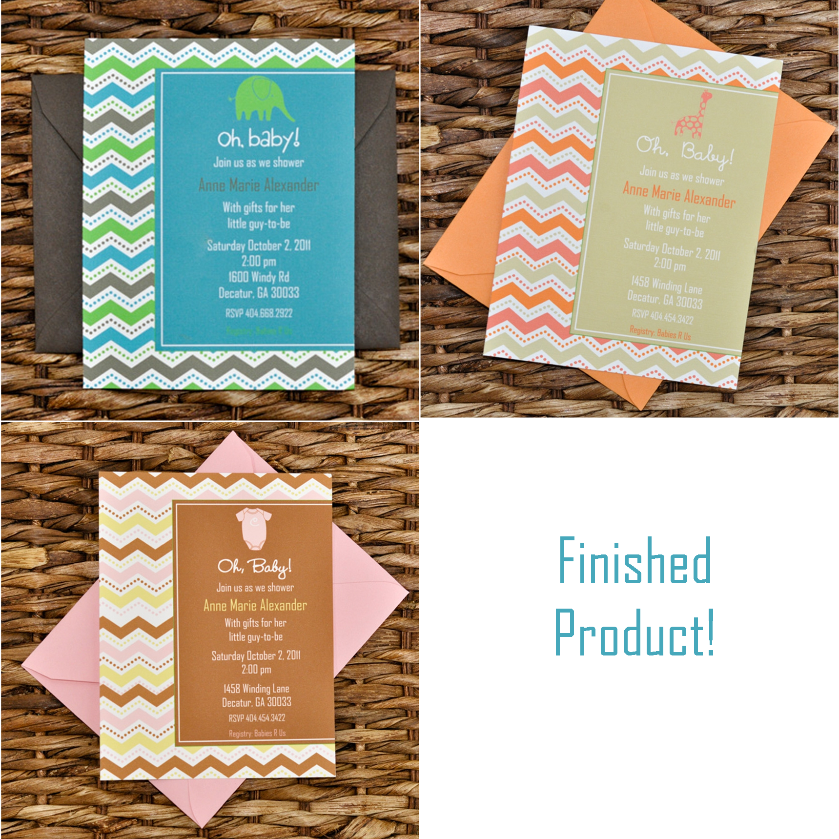 Chevron Patterned Baby Shower Invitations And Favors You Design