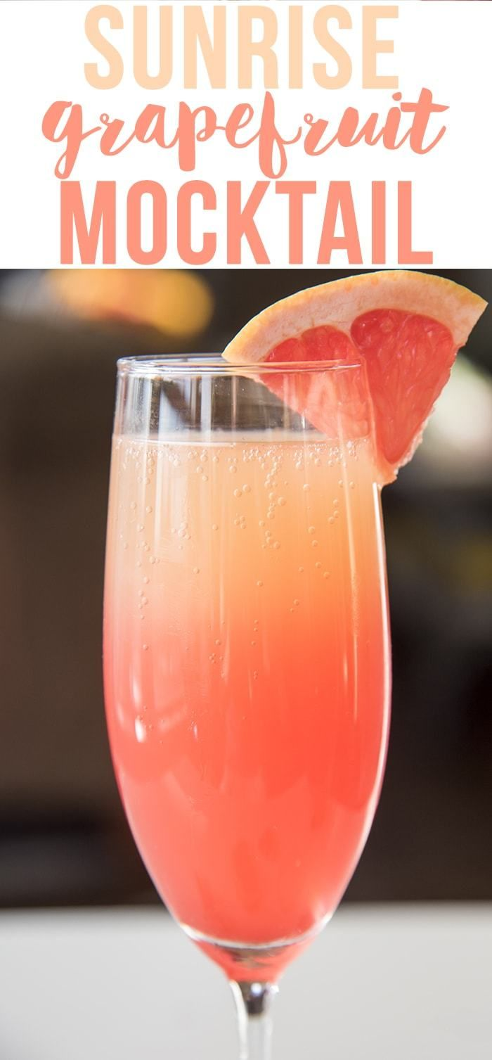 This sunrise grapefruit cocktail is a gorgeous grapefruit mocktail with a splash of grenadine to give it the beautiful coloring. #grapefruitcocktail