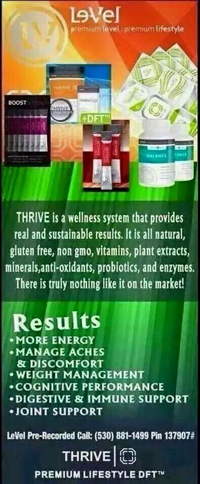 Le-Vel has been changing lives with great results helping people to sleep better,have more energy, pain management, boost metabolism, anti-age and live a healthy lifestyle with the Thrive 8wk Experience