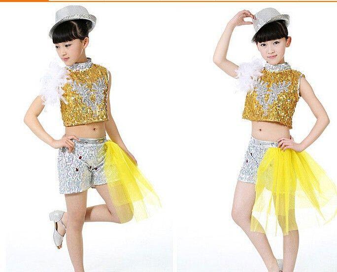 Niños trajes de danza jazz 3 colores A 087 plumas lentejuelas hip hop  trajes de baile e9c41510e44