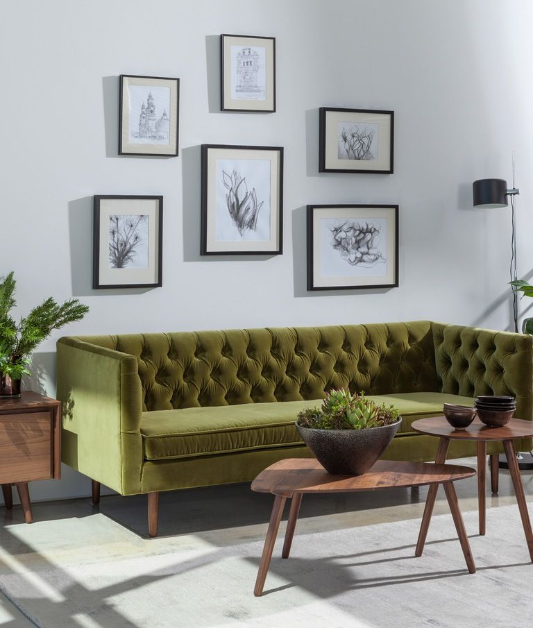Olive Green Sofa With White Walls Oak Wood Floors In 2021 White Floors Living Room Furniture Design Living Room Small Living Rooms