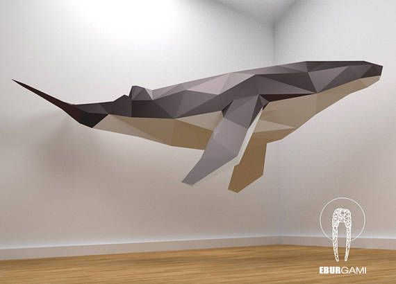 Low Poly XXL Whale Model, Create Your Own 3D Papercraft