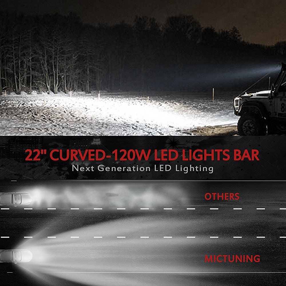 Amazoncom Mictuning 22 Curved 120w Led Light Bar Combo 9000lm Off Road Lights Wiring Harness