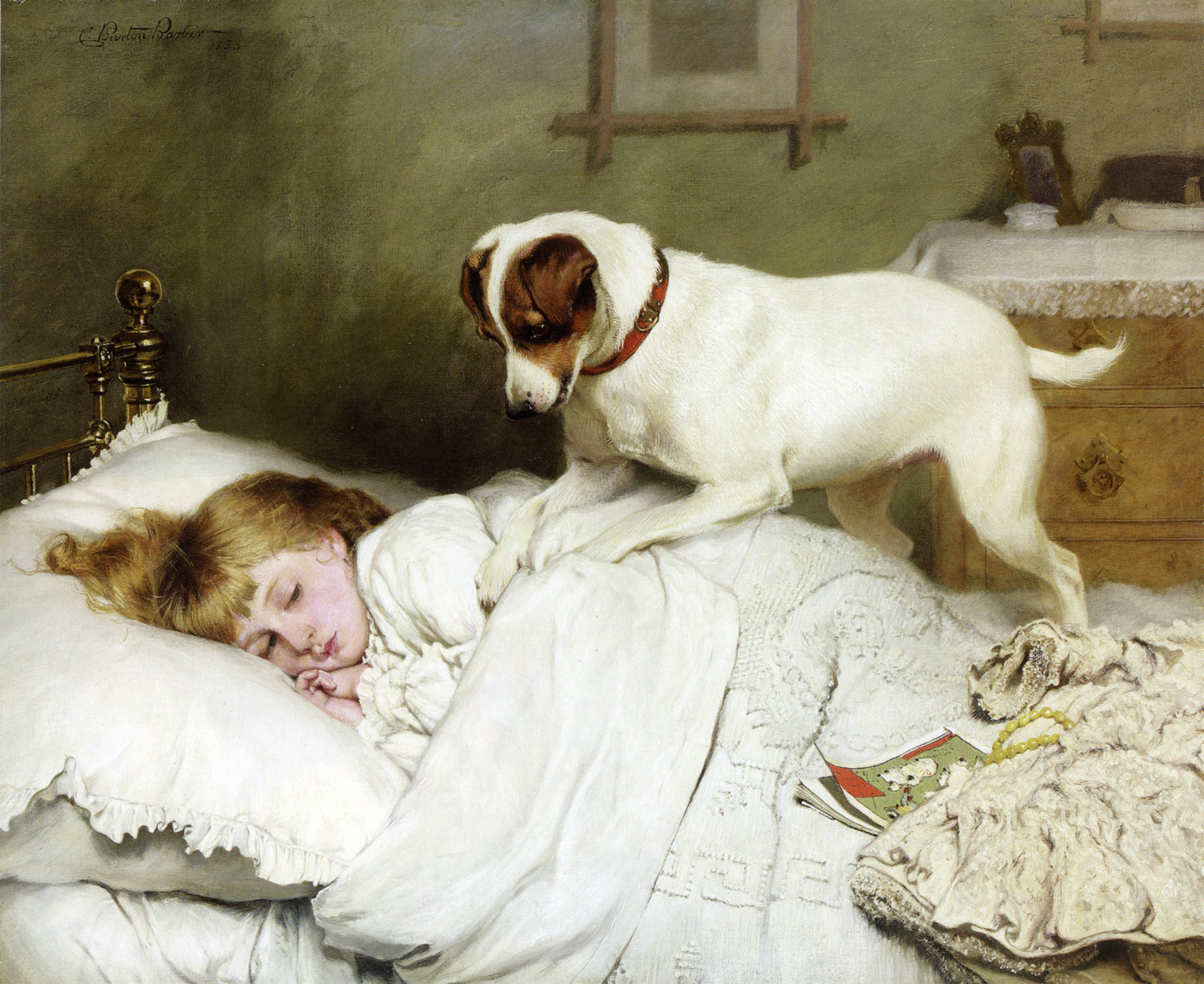Charles Burton Barber Time To Wake Up Dog Art Dog Paintings Jack Russell