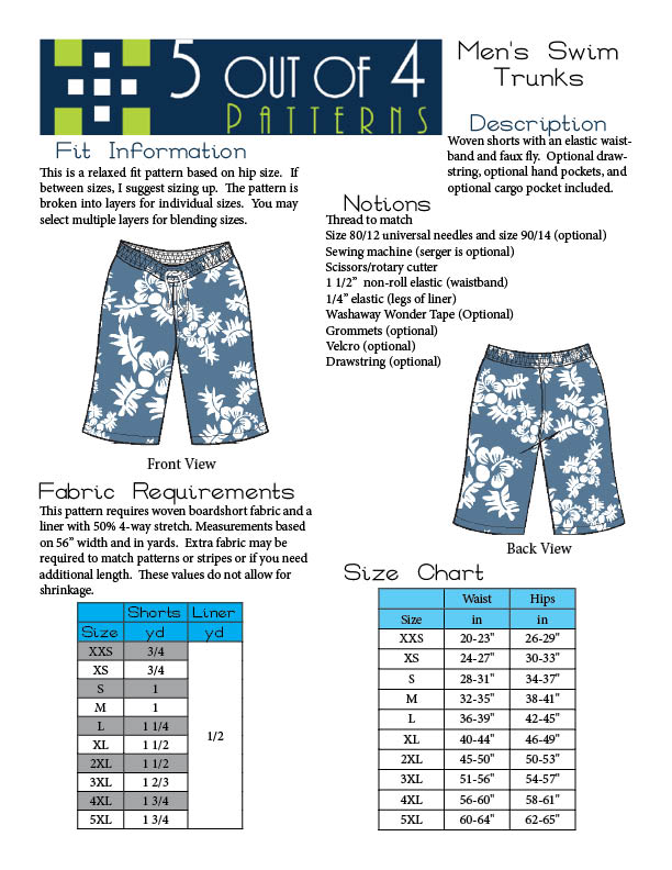 Men S Swim Trunks Pdf Sewing Pattern From 5 Out Of 4 Swim Trunks Pdf Sewing Patterns Mens Swim