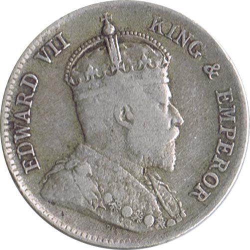 Moneda de plata 25 cents Ceylan 1909 Eduardo VII., Tienda Numismatica y Filatelia Lopez, compra venta de monedas oro y plata, sellos españa, accesorios Leuchtturm