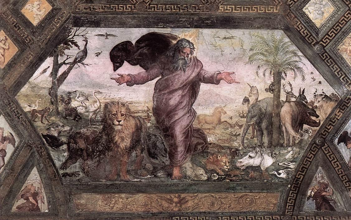 Raphael The Creation Of The Animals 1518 19 Fresco Loggia On The Second Floor Palazzi Pontifici Painting Reproductions Oil Painting Reproductions Painting