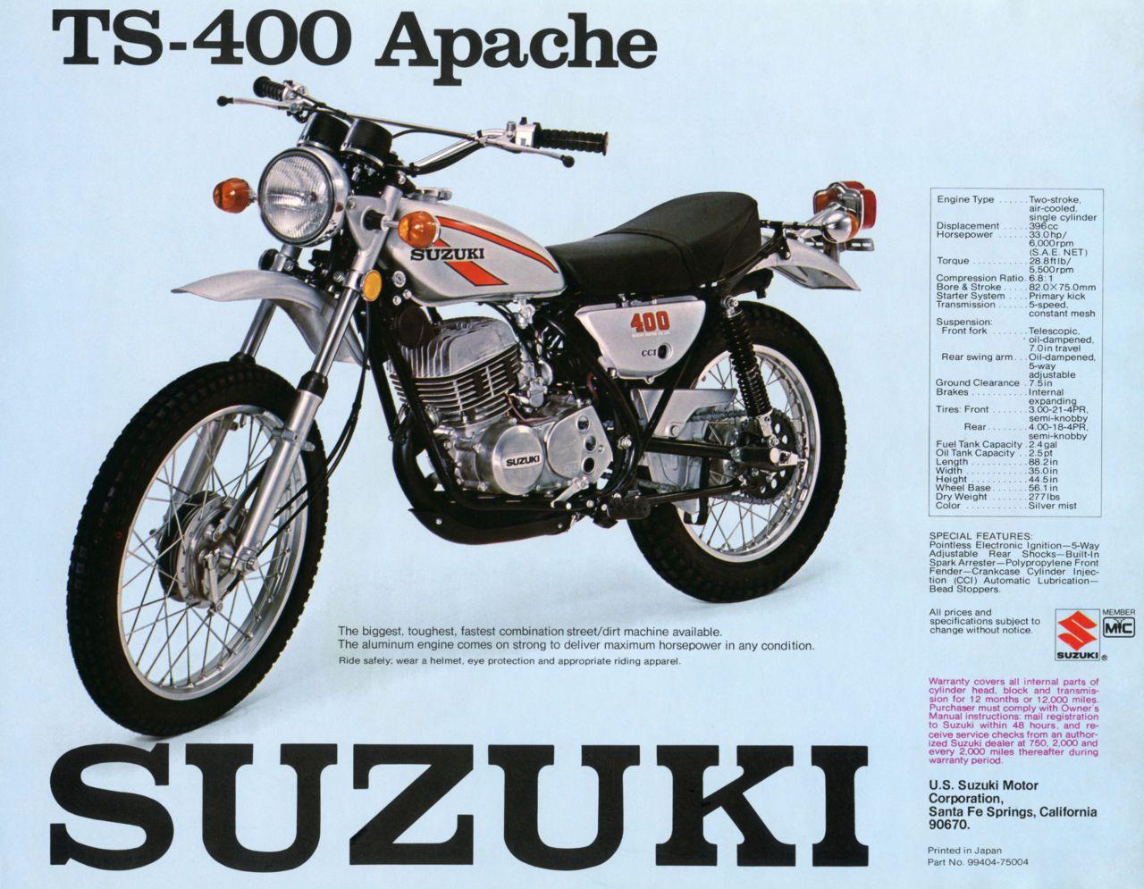 1975 Suzuki Ts400 Vintage Motorcycle Poster Print 28x36 9 Mil Paper Vintage Motorcycle Posters Motorcycle Posters Suzuki Bikes