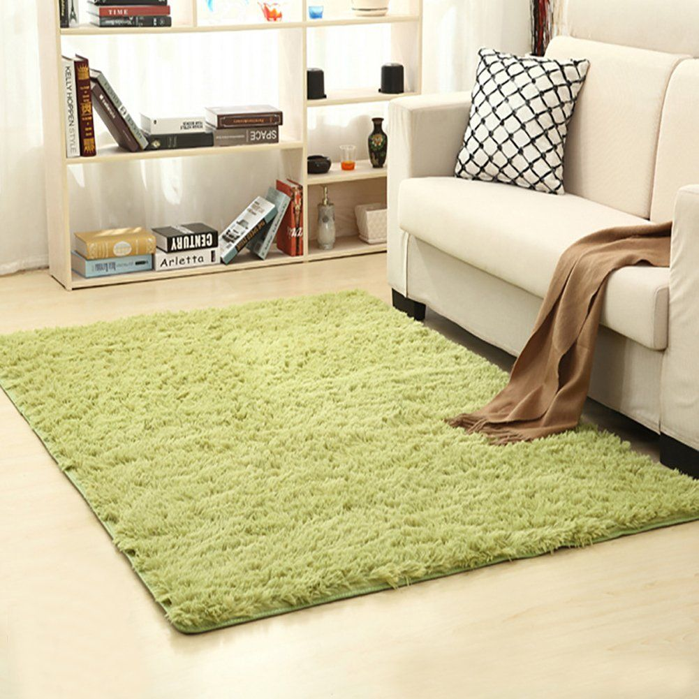 YOH Modern Thick Polyester Fiber Fluffy Shag Area Rugs Shaggy Anti-Skid Carpet Mat Home Living Room Bedroom 47.2 by 63 inches(Grass Green) -- Details can be found by clicking on the image. (This is an affiliate link) #AreaRugsRunnersandPads