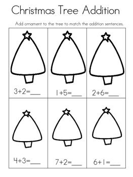 christmas tree addition worksheet school math math centers pinterest addition. Black Bedroom Furniture Sets. Home Design Ideas