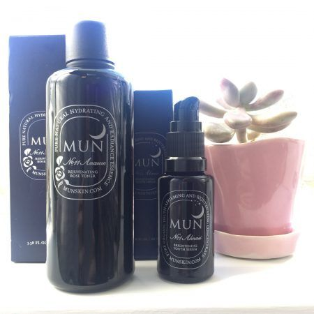 MUN Aknari Serum and Anarose Toner for smoothing, evening and nourishing skin