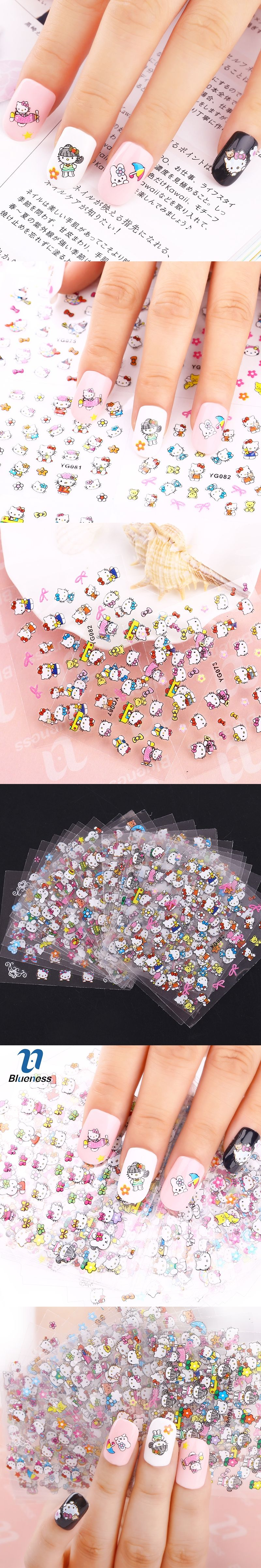 24 Manicure Designs Colorful Hello Kitty Nail Stickers Nails Diy