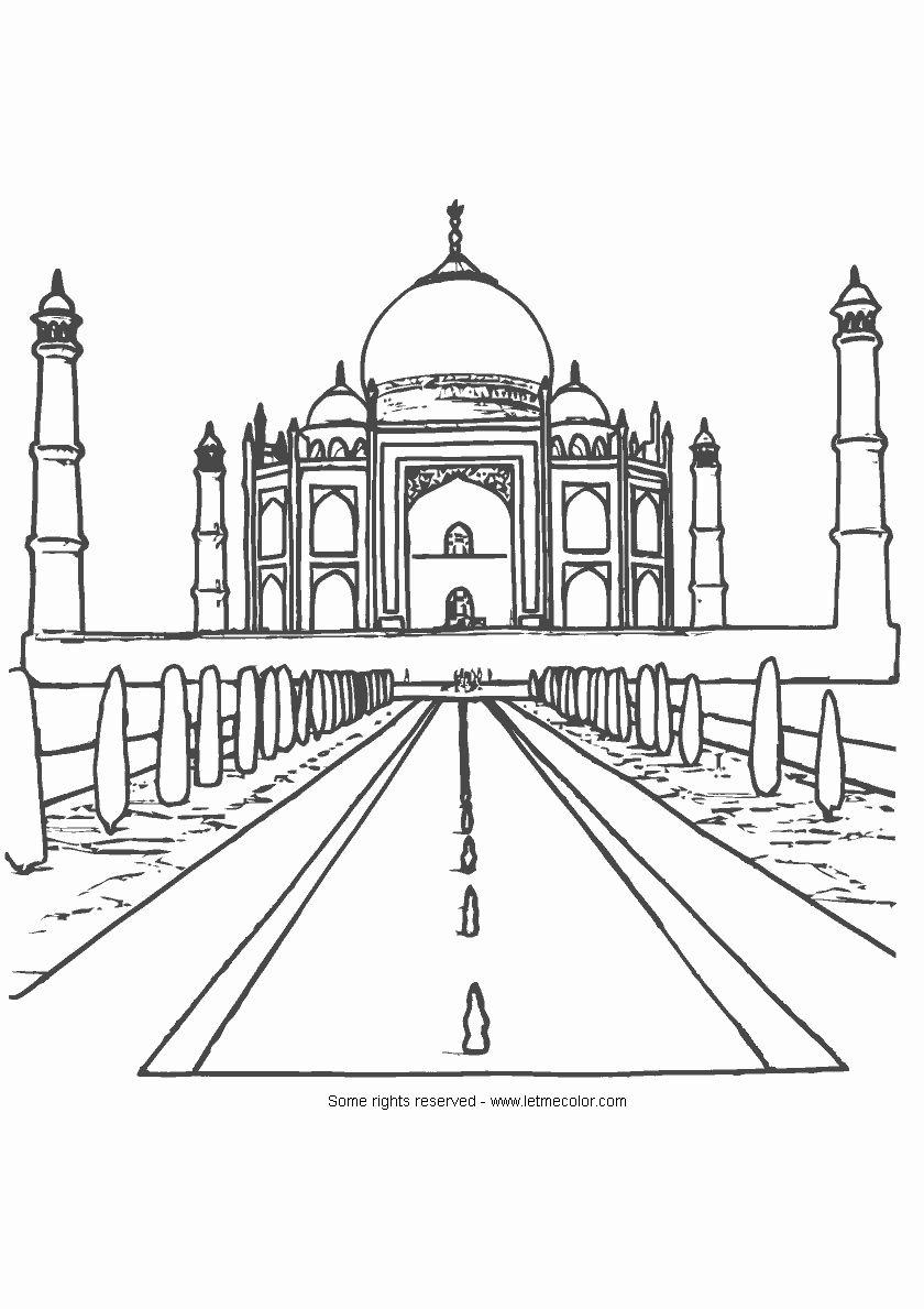 Taj Mahal Coloring Page Lovely Taj Mahal Coloring Page Letmecolor In 2020 Taj Mahal Coloring Pages Mermaid Coloring Pages