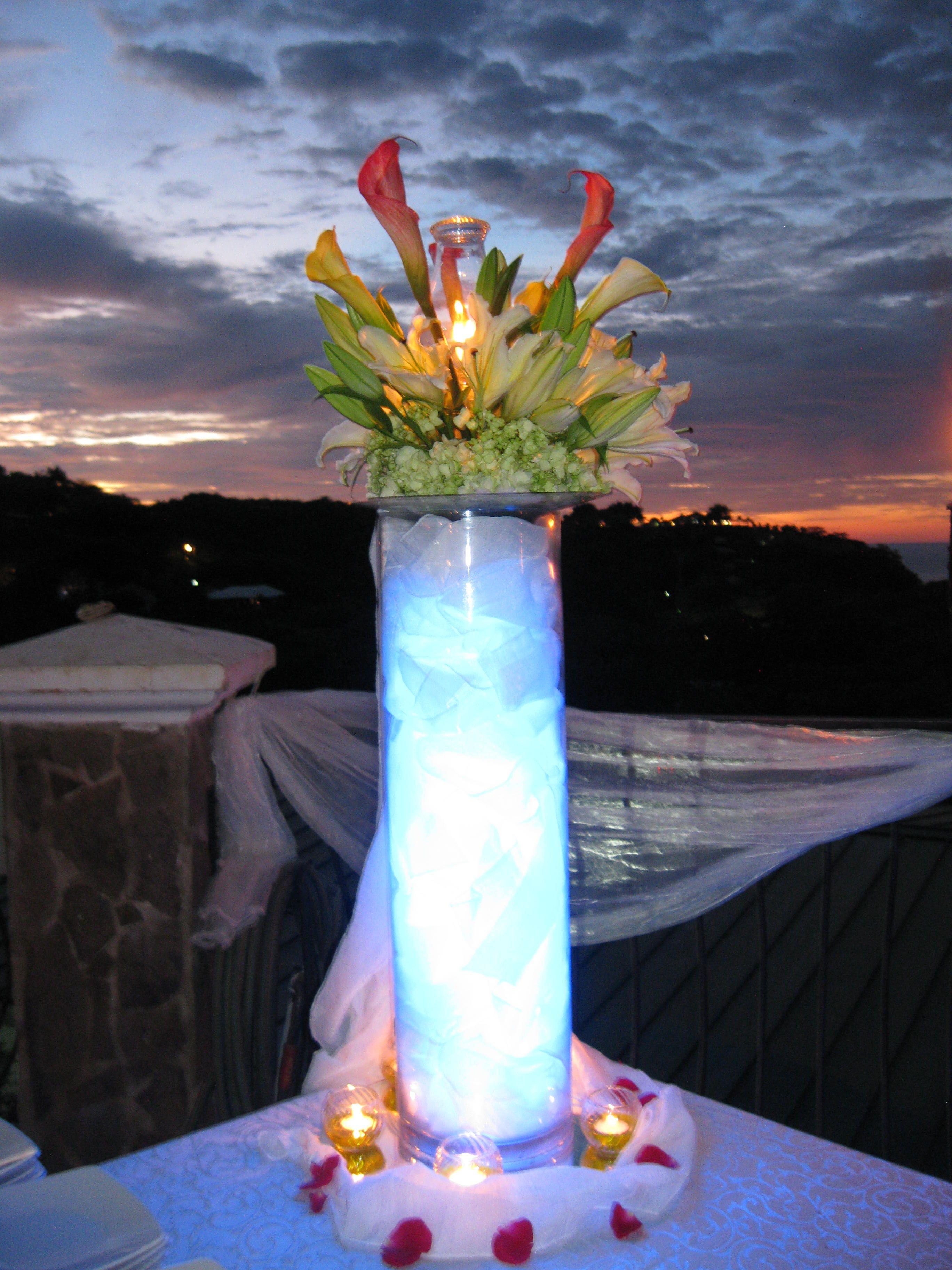 Tropical Wedding Reception Centerpiece