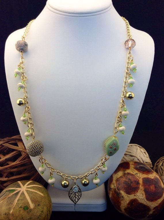 """31"""" Garden Party Gold Leaf, Chain and Swarovski Dangle Necklace LoveLeaPiecesbyMe"""