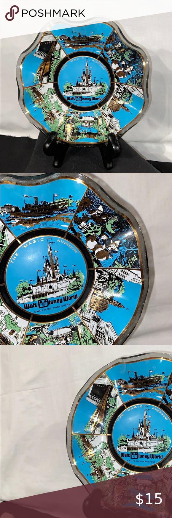 Vtg 1970s Walt Disney World Glass Fluted Edge Bowl Vintage 1970s Walt Disney Wor…