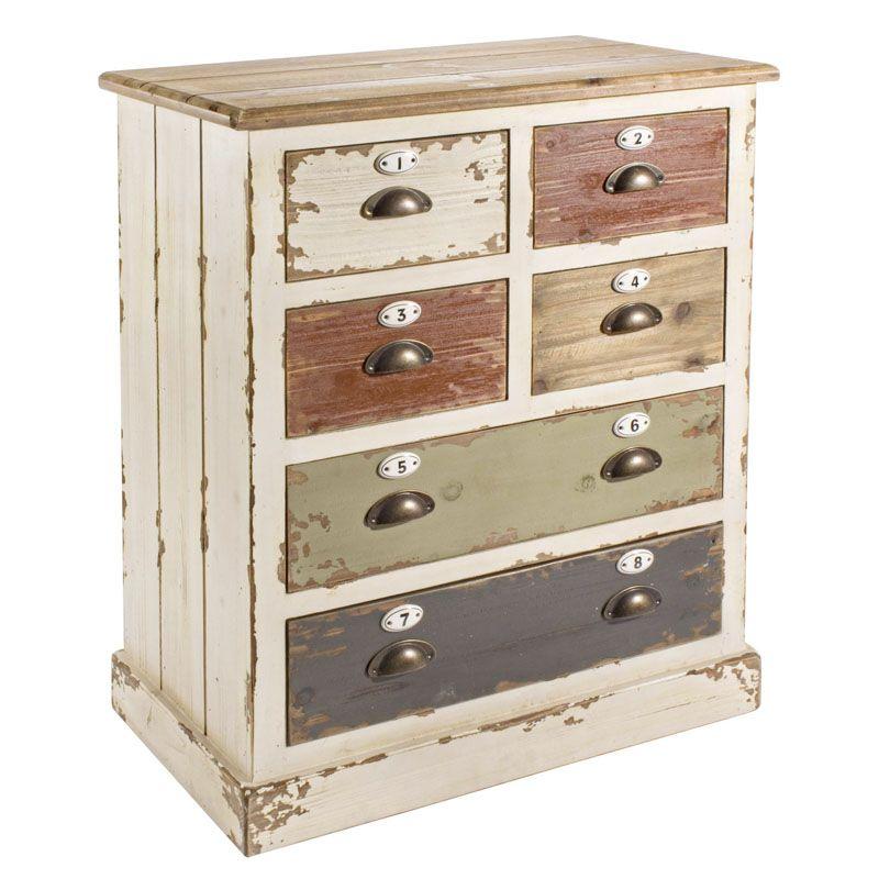 C moda benny 6 cajones madera multicolor 86cm muyhouse - Comoda 6 cajones ...
