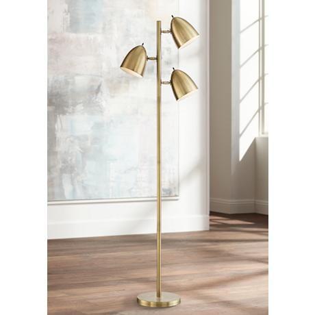Aaron Aged Brass 3 Light Floor Lamp 1k778 Lamps Plus Mid Century Modern Floor Lamps Brass Floor Lamp Floor Lamp Styles