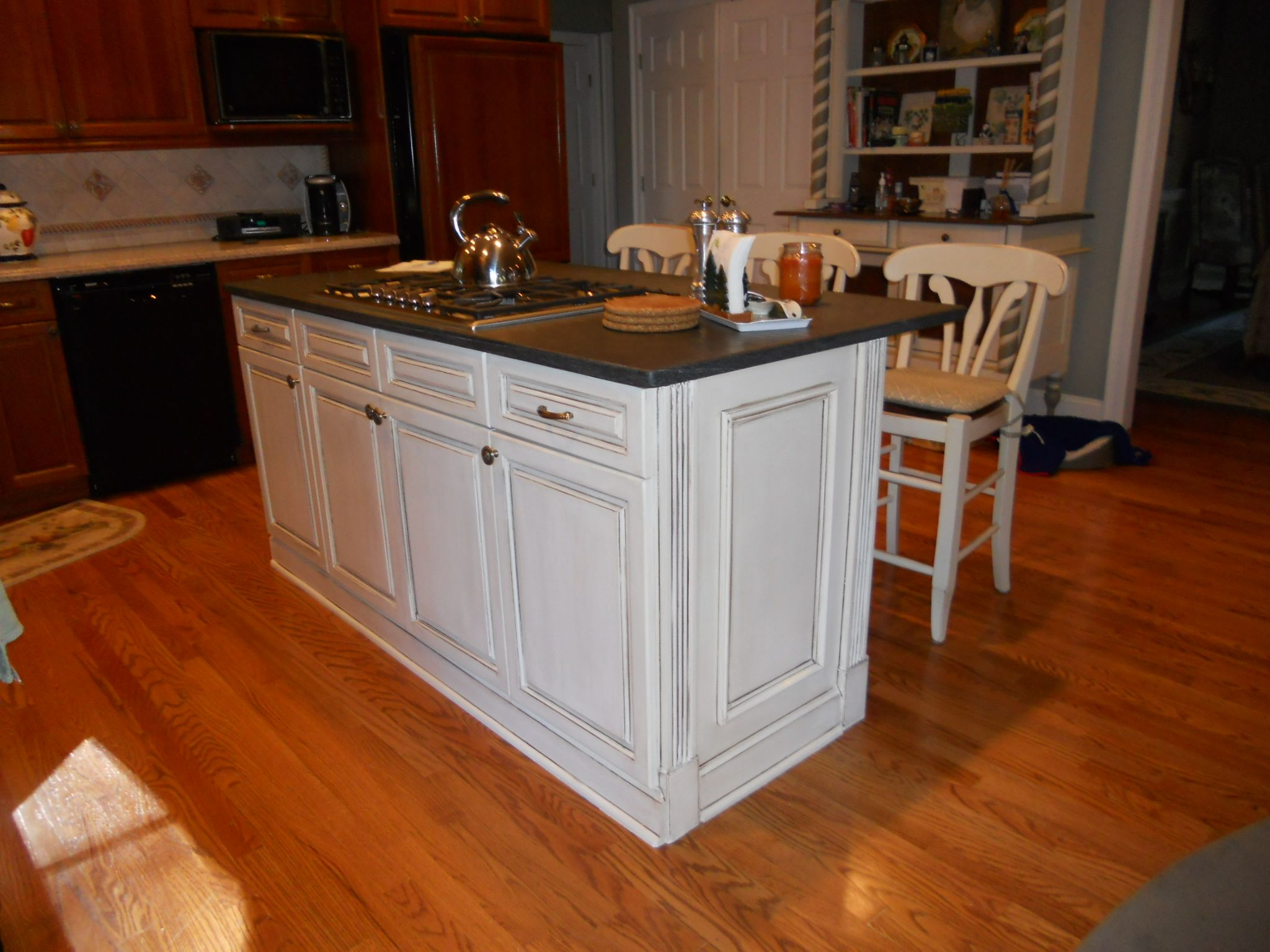 kitchen cherry cabinets white island  Google Search