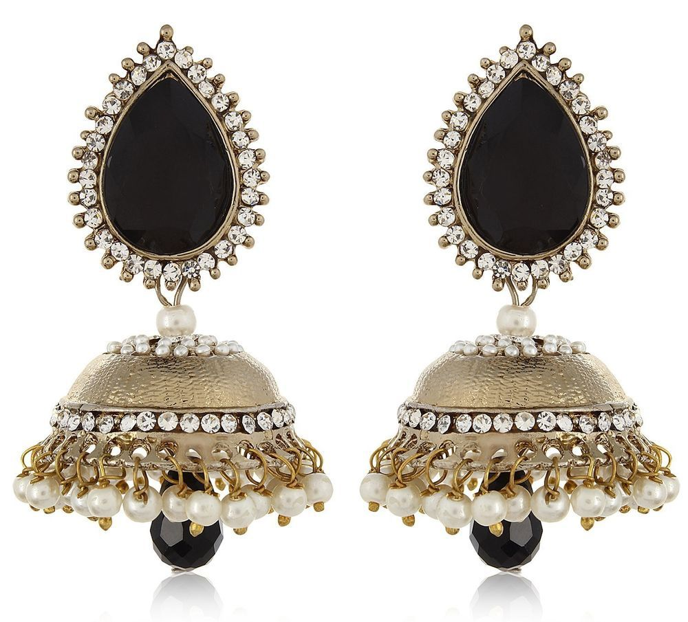 Black Stone Earrings: Indian Bollywood Black Stone Pearls Gold Plated