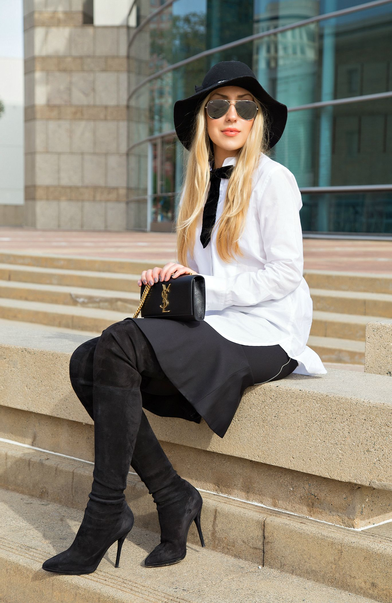 white shirt with Black Skirt Outfit Inspiration,Black Tie ...